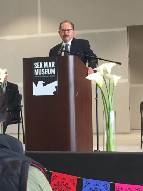 Dr. Gamboa at the Sea Mar Museum of Chicano/a Latino/a Culture sneak preview.
