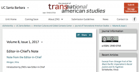 Header for the front page of the current issue of the web-based Journal of Transnational American Studies