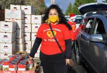 Roxana Pardo Garcia, cofounder of Alimentado el Pueblo, poses for a portrait outside Lake Burien Presbyterian Church, December 14, 2020